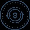Icon of revolving money symbol